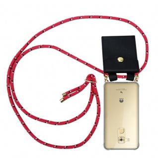 Cadorabo Handy Kette für Huawei NOVA PLUS in PINK SCHWARZ WEISS GEPUNKTET Silikon Necklace Umhänge Hülle mit Gold Ringen, Kordel Band Schnur und abnehmbarem Etui Schutzhülle