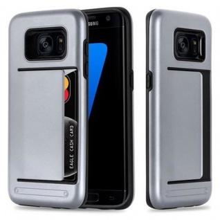 Cadorabo Hülle für Samsung Galaxy S7 EDGE - Hülle in ARMOR SILBER ? Handyhülle mit Kartenfach - Hard Case TPU Silikon Schutzhülle für Hybrid Cover im Outdoor Heavy Duty Design