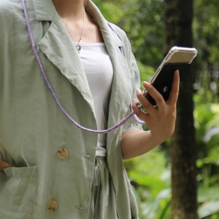 Cadorabo Handy Kette für Apple iPhone 8 PLUS / 7 PLUS / 7S PLUS in UNICORN - Silikon Necklace Umhänge Hülle mit Silber Ringen, Kordel Band Schnur und abnehmbarem Etui - Schutzhülle - Vorschau 3