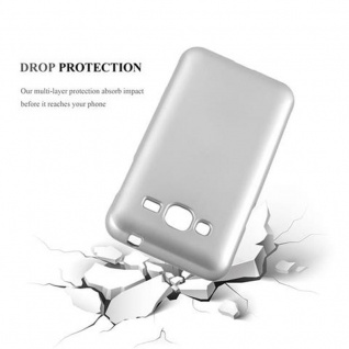 Cadorabo Hülle für Samsung Galaxy J3 / J3 DUOS 2016 in METALLIC SILBER - Handyhülle aus flexiblem TPU Silikon - Silikonhülle Schutzhülle Ultra Slim Soft Back Cover Case Bumper - Vorschau 3