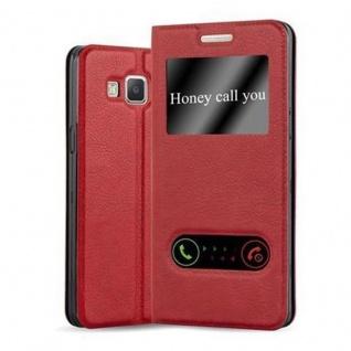 Cadorabo Hülle für Samsung Galaxy A3 2015 in SAFRAN ROT ? Handyhülle mit Magnetverschluss, Standfunktion und 2 Sichtfenstern ? Case Cover Schutzhülle Etui Tasche Book Klapp Style