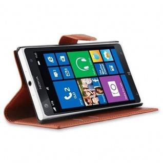 Cadorabo Hülle für Nokia Lumia 1020 in SCHOKO BRAUN - Handyhülle mit Magnetverschluss, Standfunktion und Kartenfach - Case Cover Schutzhülle Etui Tasche Book Klapp Style - Vorschau 3