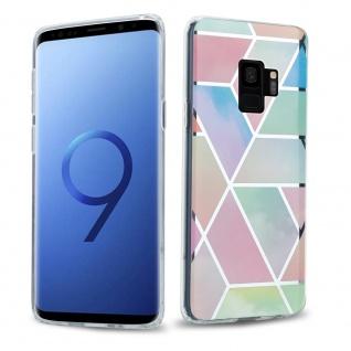 Cadorabo Hülle für Samsung Galaxy S9 PLUS Hülle in Regenbogen Marmor No.11 Handyhülle aus TPU Silikon mit Muster Mosaik Silikonhülle Schutzhülle Ultra Slim Back Cover Case Bumper