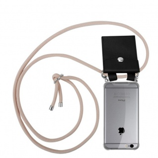 Cadorabo Handy Kette für Apple iPhone 6 PLUS / iPhone 6S PLUS in PERLIG ROSÉGOLD - Silikon Necklace Umhänge Hülle mit Silber Ringen, Kordel Band Schnur und abnehmbarem Etui - Schutzhülle