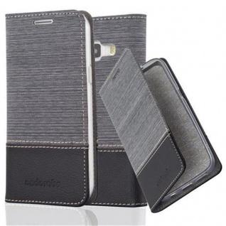 Cadorabo Hülle für Samsung Galaxy J1 2015 in GRAU SCHWARZ - Handyhülle mit Magnetverschluss, Standfunktion und Kartenfach - Case Cover Schutzhülle Etui Tasche Book Klapp Style