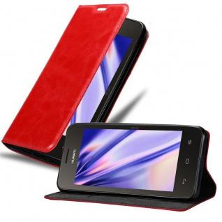 Cadorabo Hülle für Huawei Y330 in APFEL ROT Handyhülle mit Magnetverschluss, Standfunktion und Kartenfach Case Cover Schutzhülle Etui Tasche Book Klapp Style