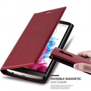 Cadorabo Hülle für LG G3 in APFEL ROT Handyhülle mit Magnetverschluss, Standfunktion und Kartenfach Case Cover Schutzhülle Etui Tasche Book Klapp Style
