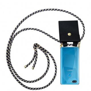 Cadorabo Handy Kette für Oppo A12 in DUNKELBLAU GELB Silikon Necklace Umhänge Hülle mit Gold Ringen, Kordel Band Schnur und abnehmbarem Etui Schutzhülle
