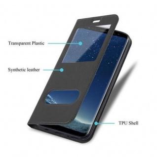 Cadorabo Hülle für Samsung Galaxy S8 in KOMETEN SCHWARZ - Handyhülle mit Magnetverschluss, Standfunktion und 2 Sichtfenstern - Case Cover Schutzhülle Etui Tasche Book Klapp Style - Vorschau 3