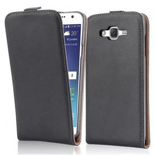 Cadorabo Hülle für Samsung Galaxy J7 2015 in KAVIAR SCHWARZ - Handyhülle im Flip Design aus glattem Kunstleder - Case Cover Schutzhülle Etui Tasche Book Klapp Style