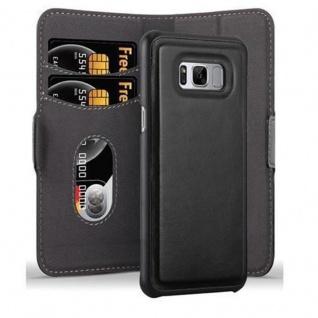 Cadorabo Hülle für Samsung Galaxy S8 Hülle in KOHLEN SCHWARZ Handyhülle im 2-in-1 Design mit Standfunktion und Kartenfach Hard Case Book Etui Schutzhülle Tasche Cover