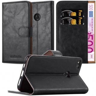 Cadorabo Hülle für Huawei P8 LITE 2017 in GRAPHIT SCHWARZ ? Handyhülle mit Magnetverschluss, Standfunktion und Kartenfach ? Case Cover Schutzhülle Etui Tasche Book Klapp Style