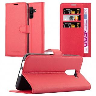 Cadorabo Hülle für Samsung Galaxy A6 PLUS 2018 in KARMIN ROT - Handyhülle mit Magnetverschluss, Standfunktion und Kartenfach - Case Cover Schutzhülle Etui Tasche Book Klapp Style