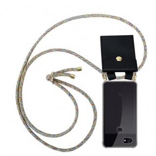 Cadorabo Handy Kette für Google Pixel 2 XL in RAINBOW Silikon Necklace Umhänge Hülle mit Gold Ringen, Kordel Band Schnur und abnehmbarem Etui Schutzhülle