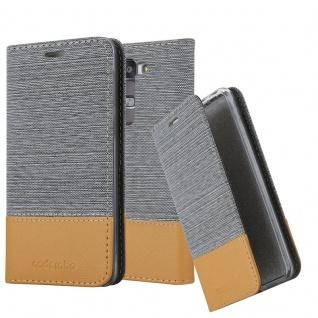 Cadorabo Hülle für LG G4C / G4 MINI / MAGNA in HELL GRAU BRAUN - Handyhülle mit Magnetverschluss, Standfunktion und Kartenfach - Case Cover Schutzhülle Etui Tasche Book Klapp Style