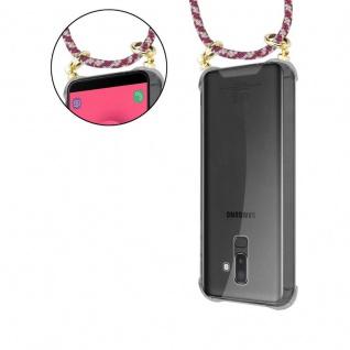 Cadorabo Handy Kette für Samsung Galaxy J8 2018 in ROT GELB WEISS - Silikon Necklace Umhänge Hülle mit Gold Ringen, Kordel Band Schnur und abnehmbarem Etui ? Schutzhülle - Vorschau 5