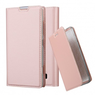 Cadorabo Hülle für Nokia Lumia 520 in CLASSY ROSÉ GOLD - Handyhülle mit Magnetverschluss, Standfunktion und Kartenfach - Case Cover Schutzhülle Etui Tasche Book Klapp Style