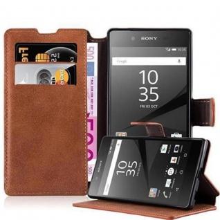 Cadorabo Hülle für Sony Xperia Z5 - Hülle in MATT BRAUN ? Handyhülle mit Standfunktion und Kartenfach im Retro Design - Case Cover Schutzhülle Etui Tasche Book Klapp Style