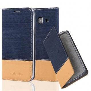 Cadorabo Hülle für Samsung Galaxy J3 2016 in DUNKEL BLAU BRAUN - Handyhülle mit Magnetverschluss, Standfunktion und Kartenfach - Case Cover Schutzhülle Etui Tasche Book Klapp Style