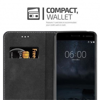 Cadorabo Hülle für Nokia 6 2017 in SCHWARZ BRAUN ? Handyhülle mit Magnetverschluss, Standfunktion und Kartenfach ? Case Cover Schutzhülle Etui Tasche Book Klapp Style - Vorschau 5