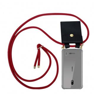 Cadorabo Handy Kette für Nokia 2.2 in RUBIN ROT - Silikon Necklace Umhänge Hülle mit Gold Ringen, Kordel Band Schnur und abnehmbarem Etui ? Schutzhülle