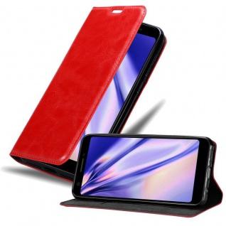Cadorabo Hülle für Google Pixel 3a in APFEL ROT Handyhülle mit Magnetverschluss, Standfunktion und Kartenfach Case Cover Schutzhülle Etui Tasche Book Klapp Style