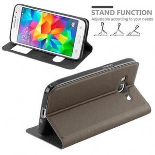 Cadorabo Hülle für Samsung Galaxy GRAND PRIME in STEIN BRAUN ? Handyhülle mit Magnetverschluss, Standfunktion und 2 Sichtfenstern ? Case Cover Schutzhülle Etui Tasche Book Klapp Style - Vorschau 4