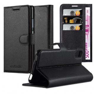 Cadorabo Hülle für HTC Desire 10 LIFESTYLE / Desire 825 in PHANTOM SCHWARZ - Handyhülle mit Magnetverschluss, Standfunktion und Kartenfach - Case Cover Schutzhülle Etui Tasche Book Klapp Style