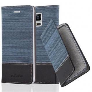 Cadorabo Hülle für Samsung Galaxy NOTE 4 in DUNKEL BLAU SCHWARZ - Handyhülle mit Magnetverschluss, Standfunktion und Kartenfach - Case Cover Schutzhülle Etui Tasche Book Klapp Style