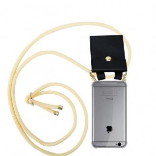 Cadorabo Handy Kette für Apple iPhone 6 PLUS / iPhone 6S PLUS in CREME BEIGE Silikon Necklace Umhänge Hülle mit Gold Ringen, Kordel Band Schnur und abnehmbarem Etui Schutzhülle