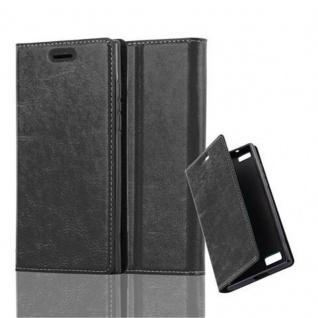 Cadorabo Hülle für Blackberry LEAP / Z20 in NACHT SCHWARZ - Handyhülle mit Magnetverschluss, Standfunktion und Kartenfach - Case Cover Schutzhülle Etui Tasche Book Klapp Style