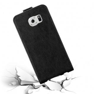 Cadorabo Hülle für Samsung Galaxy S6 in NACHT SCHWARZ - Handyhülle im Flip Design mit unsichtbarem Magnetverschluss - Case Cover Schutzhülle Etui Tasche Book Klapp Style - Vorschau 4