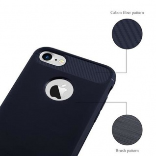 Cadorabo Hülle für Apple iPhone 7 / iPhone 7S - Hülle in BRUSHED BLAU - Handyhülle aus TPU Silikon in Edelstahl-Karbonfaser Optik - Silikonhülle Schutzhülle Ultra Slim Soft Back Cover Case Bumper 5