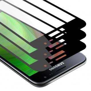 Cadorabo 3x Vollbild Panzer Folie für Samsung Galaxy J3 / J3 DUOS 2016 Schutzfolie in TRANSPARENT mit SCHWARZ 3er Pack Gehärtetes (Tempered) Display-Schutzglas in 9H Härte mit 3D Touch