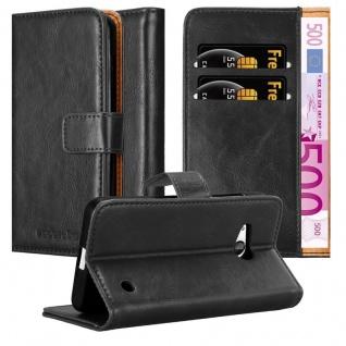 Cadorabo Hülle für Nokia Lumia 550 in GRAPHIT SCHWARZ ? Handyhülle mit Magnetverschluss, Standfunktion und Kartenfach ? Case Cover Schutzhülle Etui Tasche Book Klapp Style