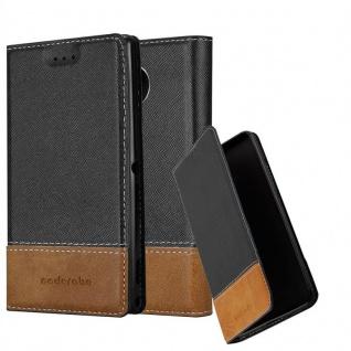 Cadorabo Hülle für Nokia Lumia 950 XL in SCHWARZ BRAUN - Handyhülle mit Magnetverschluss, Standfunktion und Kartenfach - Case Cover Schutzhülle Etui Tasche Book Klapp Style