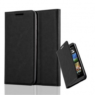 Cadorabo Hülle für HTC DESIRE 820 in NACHT SCHWARZ - Handyhülle mit Magnetverschluss, Standfunktion und Kartenfach - Case Cover Schutzhülle Etui Tasche Book Klapp Style