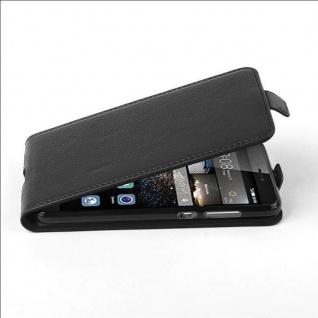 Cadorabo Hülle für Huawei P8 LITE 2017 - Hülle in OXID SCHWARZ ? Handyhülle aus strukturiertem Kunstleder im Flip Design - Case Cover Schutzhülle Etui Tasche