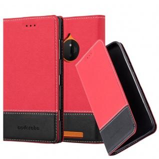 Cadorabo Hülle für Nokia Lumia 830 in ROT SCHWARZ ? Handyhülle mit Magnetverschluss, Standfunktion und Kartenfach ? Case Cover Schutzhülle Etui Tasche Book Klapp Style