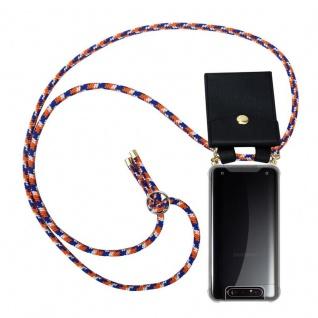 Cadorabo Handy Kette für Samsung Galaxy A80 / A90 in ORANGE BLAU WEISS Silikon Necklace Umhänge Hülle mit Gold Ringen, Kordel Band Schnur und abnehmbarem Etui Schutzhülle
