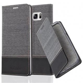 Cadorabo Hülle für Samsung Galaxy NOTE 5 in GRAU SCHWARZ - Handyhülle mit Magnetverschluss, Standfunktion und Kartenfach - Case Cover Schutzhülle Etui Tasche Book Klapp Style