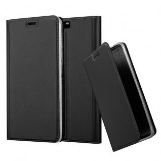 Cadorabo Hülle für Huawei P10 PLUS in CLASSY SCHWARZ - Handyhülle mit Magnetverschluss, Standfunktion und Kartenfach - Case Cover Schutzhülle Etui Tasche Book Klapp Style
