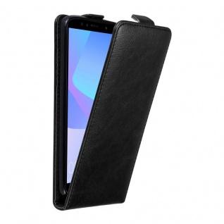 Cadorabo Hülle für Huawei Y6 PRIME 2018 in NACHT SCHWARZ Handyhülle im Flip Design mit unsichtbarem Magnetverschluss Case Cover Schutzhülle Etui Tasche Book Klapp Style