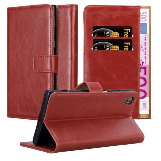 Cadorabo Hülle für Sony Xperia XA1 PLUS in WEIN ROT - Handyhülle mit Magnetverschluss, Standfunktion und Kartenfach - Case Cover Schutzhülle Etui Tasche Book Klapp Style