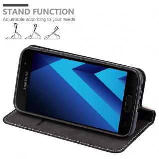 Cadorabo Hülle für Samsung Galaxy A3 2017 in SCHWARZ BRAUN ? Handyhülle mit Magnetverschluss, Standfunktion und Kartenfach ? Case Cover Schutzhülle Etui Tasche Book Klapp Style - Vorschau 3