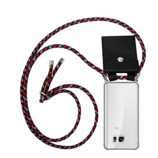 Cadorabo Handy Kette für Samsung Galaxy NOTE 5 in ROT BLAU GELB - Silikon Necklace Umhänge Hülle mit Silber Ringen, Kordel Band Schnur und abnehmbarem Etui - Schutzhülle
