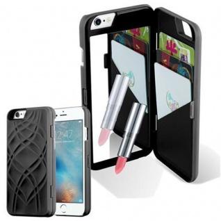 Cadorabo - TPU Hard Cover für Apple iPhone 6 PLUS / iPhone 6S PLUS mit Muster, Spiegel und 3 Kartenfächer ? Case Schutzhülle in SCHWARZ