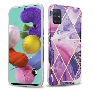 Cadorabo Hülle für Samsung Galaxy A51 5G Hülle in Lila Welle Marmor No.14 Handyhülle aus TPU Silikon mit Muster Mosaik Silikonhülle Schutzhülle Ultra Slim Back Cover Case Bumper