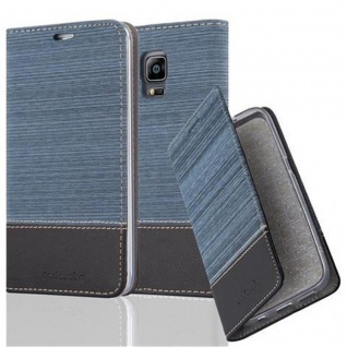 Cadorabo Hülle für Samsung Galaxy NOTE EDGE - Hülle in DUNKEL BLAU SCHWARZ ? Handyhülle mit Standfunktion und Kartenfach im Stoff Design - Case Cover Schutzhülle Etui Tasche Book