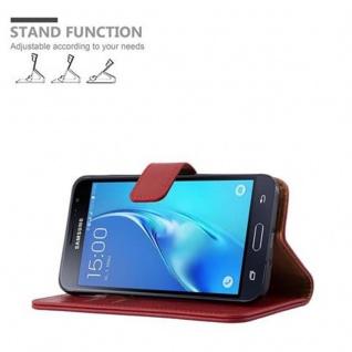 Cadorabo Hülle für Samsung Galaxy J3 2016 in WEIN ROT ? Handyhülle mit Magnetverschluss, Standfunktion und Kartenfach ? Case Cover Schutzhülle Etui Tasche Book Klapp Style - Vorschau 5